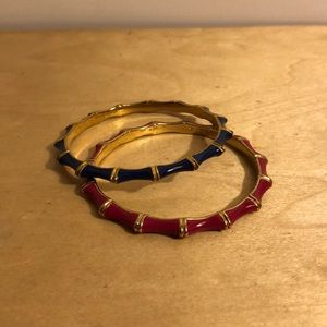 Cobalt, pink with gold bamboo bangles